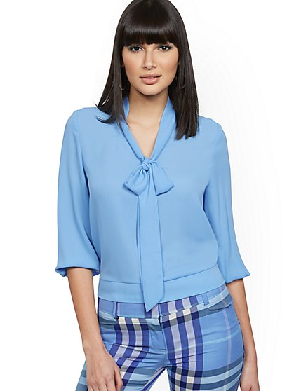 Button-Back Bow Blouse - 7th Avenue - New York & Company