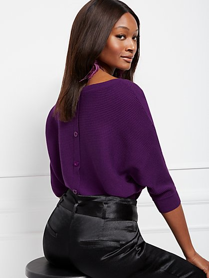 Button-Back Dolman Sweater - 7th Avenue - New York & Company