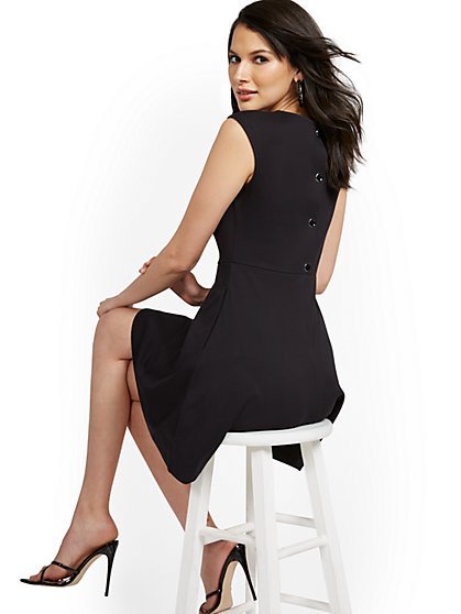 Button-Back Fit and Flare Dress - City Knits - New York & Company