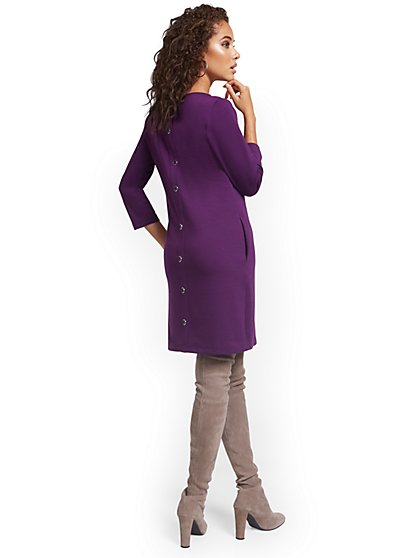 Button-Back Shift Dress - New York & Company