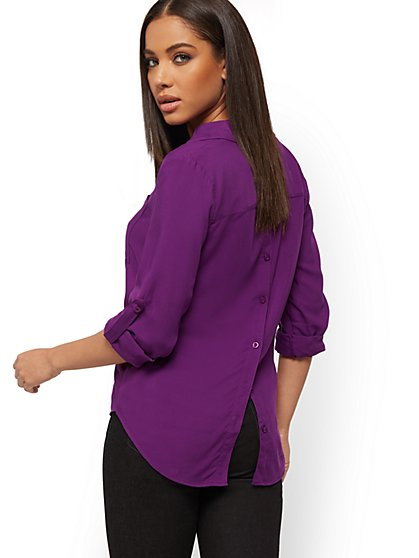 Button-Back Shirt - Soho Soft Blouse - New York & Company