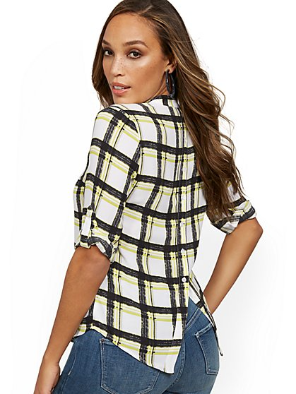 Button-Back Tab-Sleeve Plaid Top - New York & Company