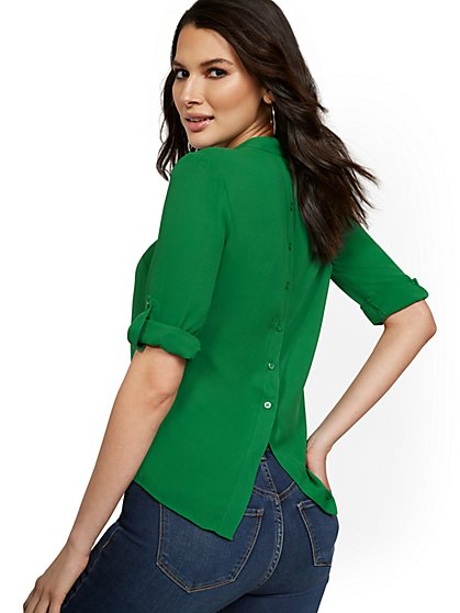 Button-Back Tab-Sleeve Top - New York & Company