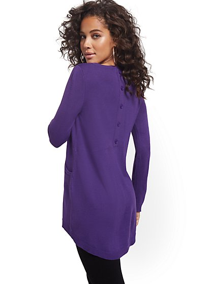Button-Back Tunic Sweater - New York & Company