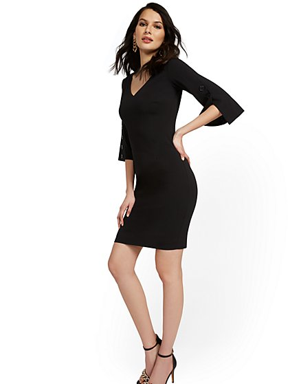 Button Bell-Sleeve V-Neck Sheath Dress - Magic Crepe® - New York & Company