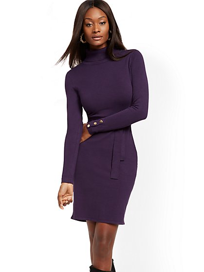 Button-Cuff Turtleneck Sweater Dress - 7th Avenue - New York & Company