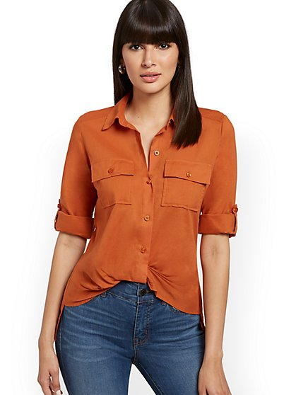 Button-Down Twist-Front Shirt - New York & Company