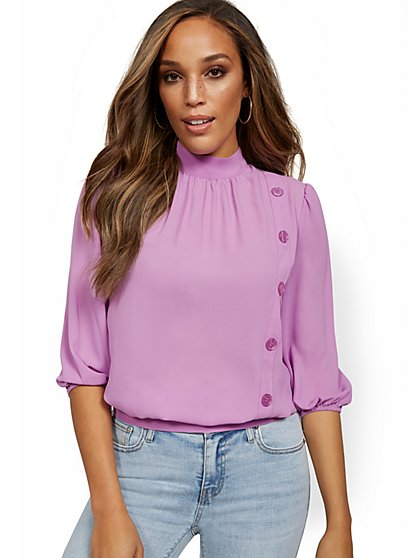 Button-Front 3/4-Sleeve Blouse - 7th Avenue - New York & Company