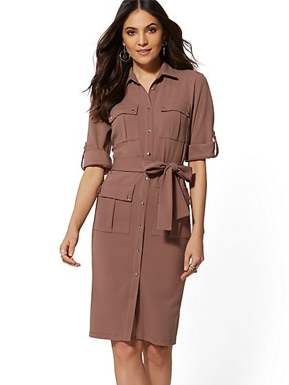 Button-Front Belted Shirtdress - Magic Crepe - 7th Avenue - New York & Company