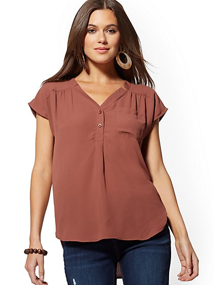 Button-Front Blouse - Soho Soft Shirt - New York & Company