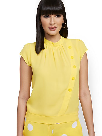 Button-Front Cap-Sleeve Blouse - 7th Avenue - New York & Company