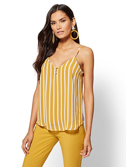 Button-Front Chiffon-Overlay Camisole Top - New York & Company