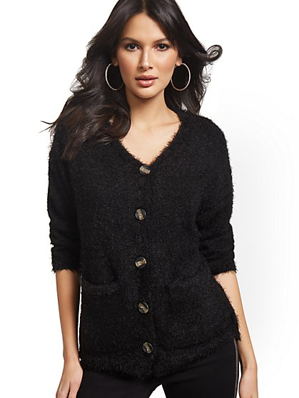 Button-Front Fuzzy Cardigan - New York & Company
