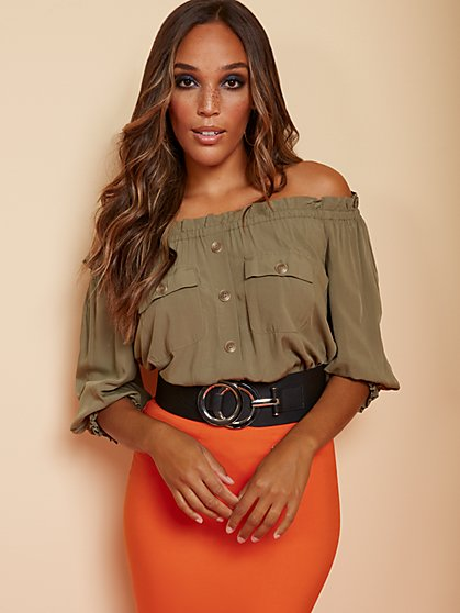 Button-Front Off-The-Shoulder Top - New York & Company
