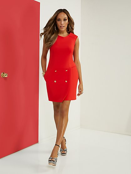Button-Front Ponte Dress - Superflex - New York & Company