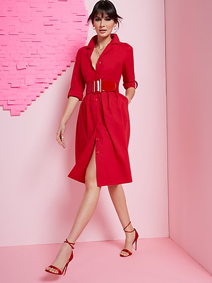 Button-Front Poplin Midi Shirtdress - New York & Company