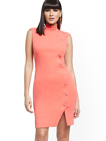 Button-Front Sheath Dress - Magic Crepe® - New York & Company