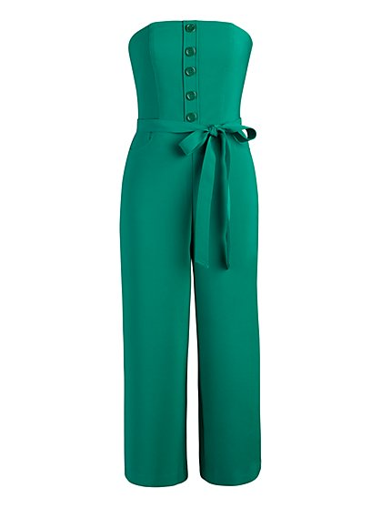 Button-Front Strapless Jumpsuit - New York & Company