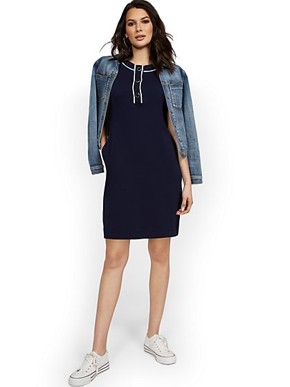 Button Placket Short-Sleeve Shift Dress - City Knits - New York & Company