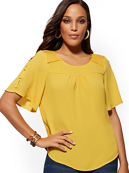 Button-Sleeve Open-Stitch Top - New York & Company