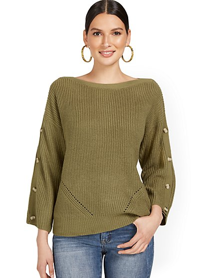 Button-Sleeve Rib Sweater - New York & Company
