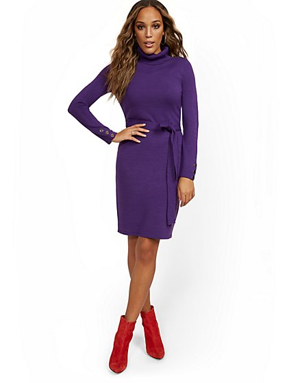 Button-Sleeve Turtleneck Dress - New York & Company