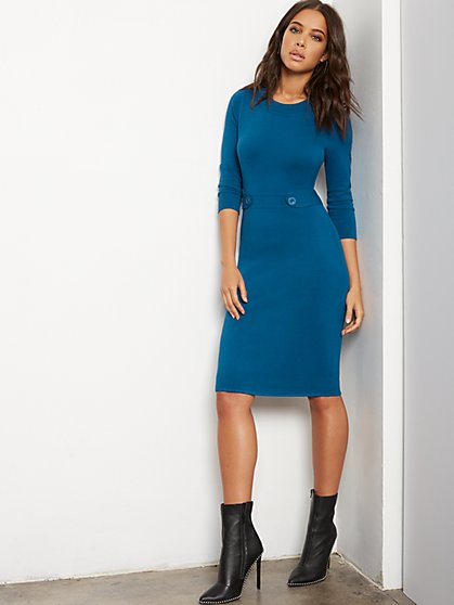 Button-Tab Sweater Sheath Dress - 7th Avenue - New York & Company