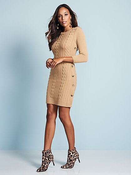 Button-Trim Cable-Knit Sweater Dress - New York & Company