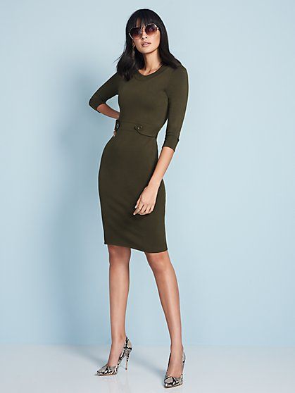 Button-Trim Sheath Sweater Dress - New York & Company