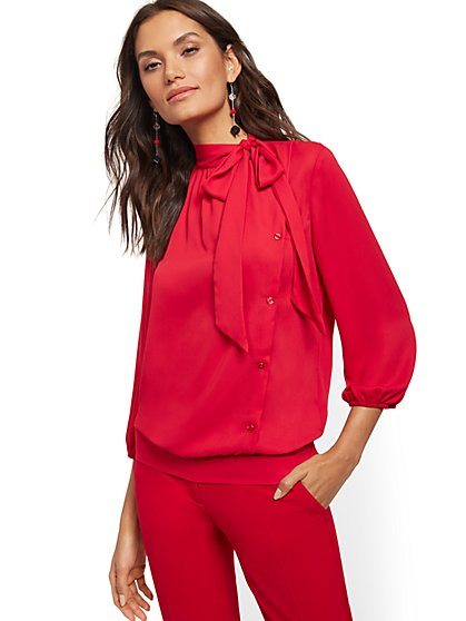 Buttoned Bow-Accent Blouse - New York & Company