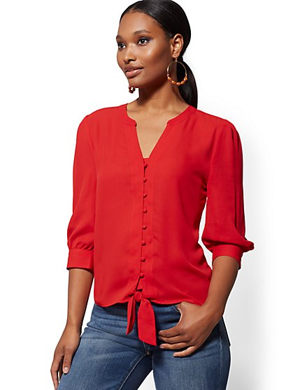 Buttoned Tie-Front Blouse - Soho Soft Blouse - New York & Company