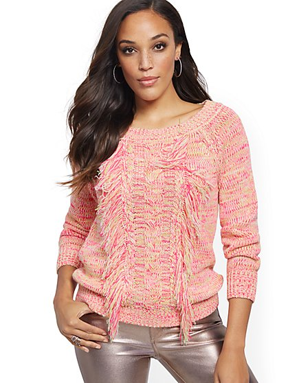 Cable Fringe Sweater - New York & Company