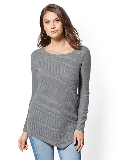 Cable-Knit Asymmetrical Tunic Sweater - New York & Company