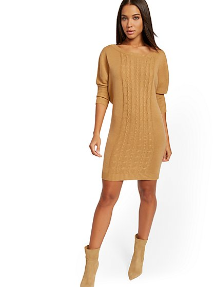 Cable-Knit Dolman Sweater Dress - New York & Company