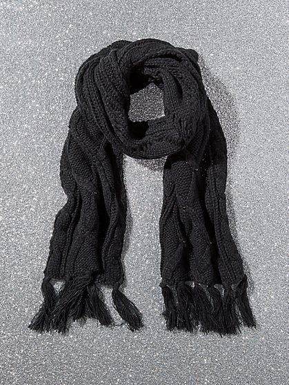 Cable-Knit Fringe Scarf - Faux-Pearl Accent - New York & Company