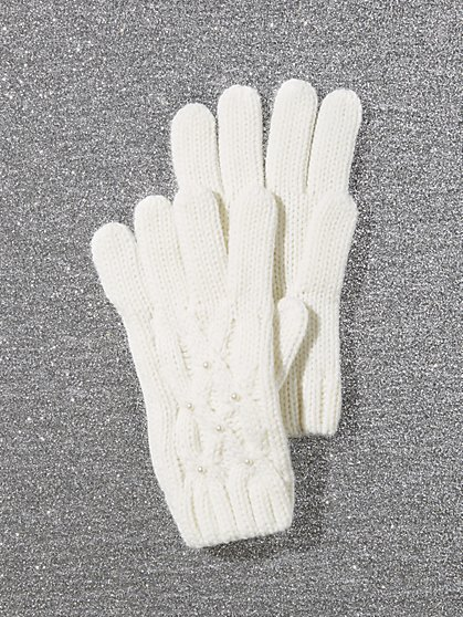 Cable-Knit Glove - Faux-Pearl Accent - New York & Company