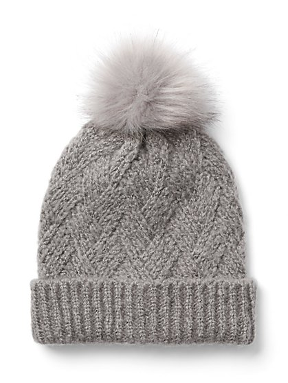 Cable-Knit Pom-Pom Hat - New York & Company