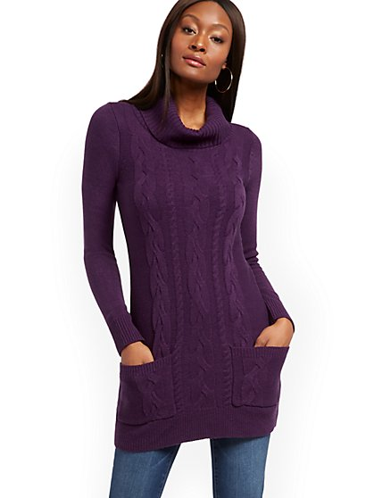 Cable-Knit Tunic Sweater - 7th Avenue - New York & Company