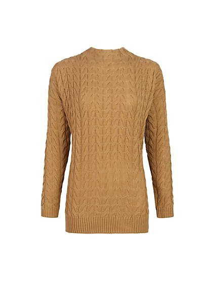 Cable-Knit Tunic Sweater - New York & Company