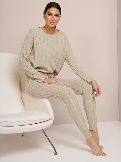Cabled Sweater-Knit Jogger Pant - New York & Company
