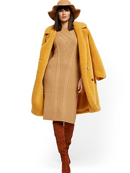 Camel Cable-Knit Sweater Dress - New York & Company