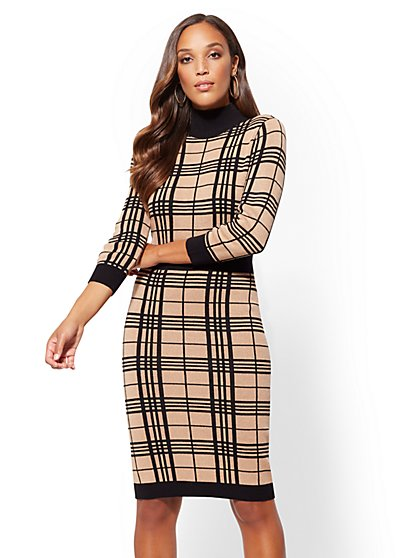 Camel Plaid Sweater Dress - New York & Company