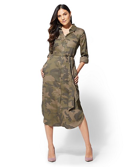 Camo Belted Midi Shirtdress - New York & Company