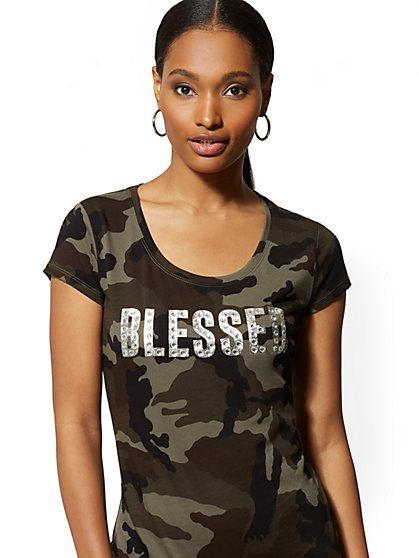 "Camo ""Blessed"" Graphic Logo Tee - New York & Company"