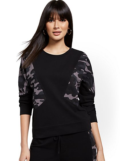 Camo-Colorblock Pullover Sweatshirt - New York & Company