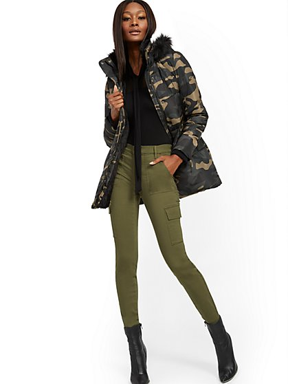 Camo Faux Fur-Trim Hooded Puffer Jacket - New York & Company