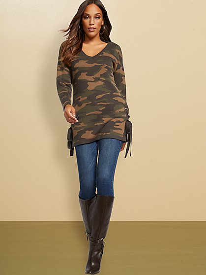 Camo Lace-Up Tunic Sweater - New York & Company