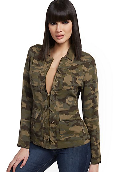 Camo Lace-Up Utility Jacket - New York & Company