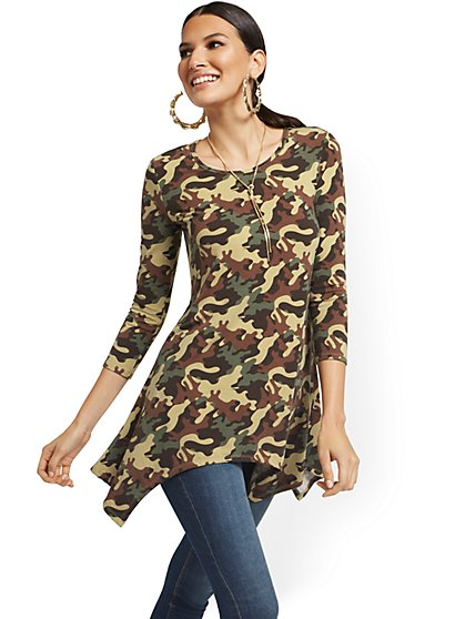 Camo-Print Asymmetrical Sharkbite Hem Tunic Top - New York & Company