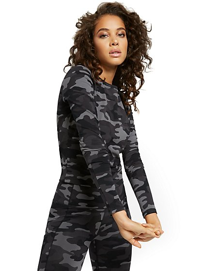 Camo-Print Athleisure Yoga Top - New York & Company
